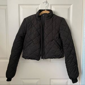 Princess Polly Black Quilted Puffer jacket Cropped